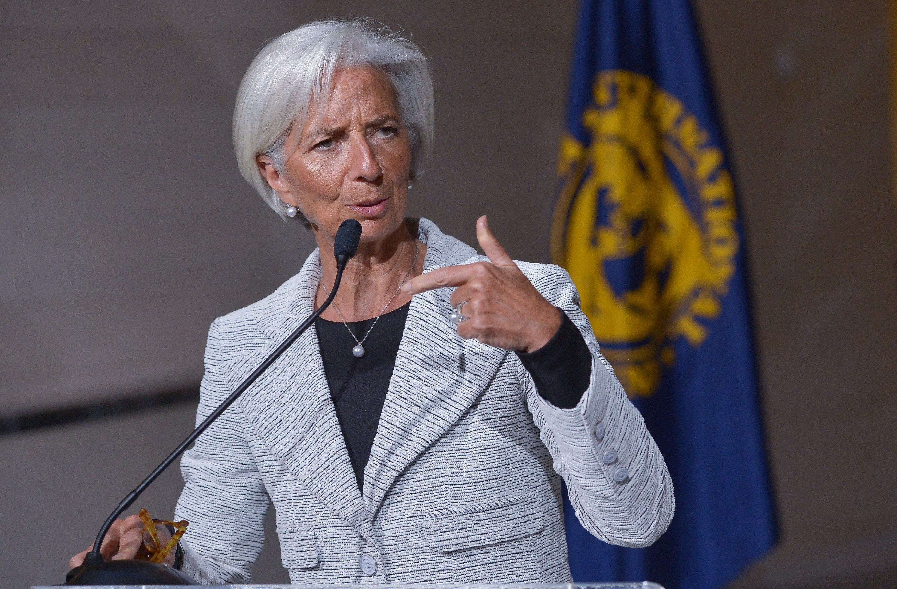 International Monetary Fund Managing Director Christine Lagarde speaks following an IMF board meeting on Ukraine on April 30, 2014 at IMF Headquarters in Washington, DC.  (AFP PHOTO/Mandel NGAN)