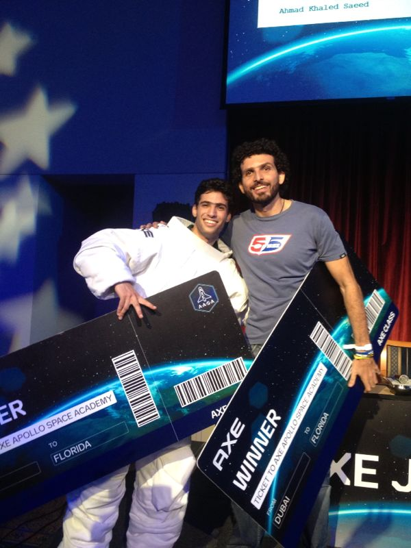 Omar Samra (right) won the AXE competition ticket, which qualifies him for the final round of the Space Competition in Orlando, USA in December 2013 (Handout picture from Blue Ocean PR)
