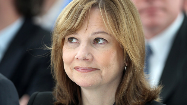 Mary Barra, new CEO of US carmaker General Motors GM arrives for a news conference on 27 January 2014 (AFP PHOTO)