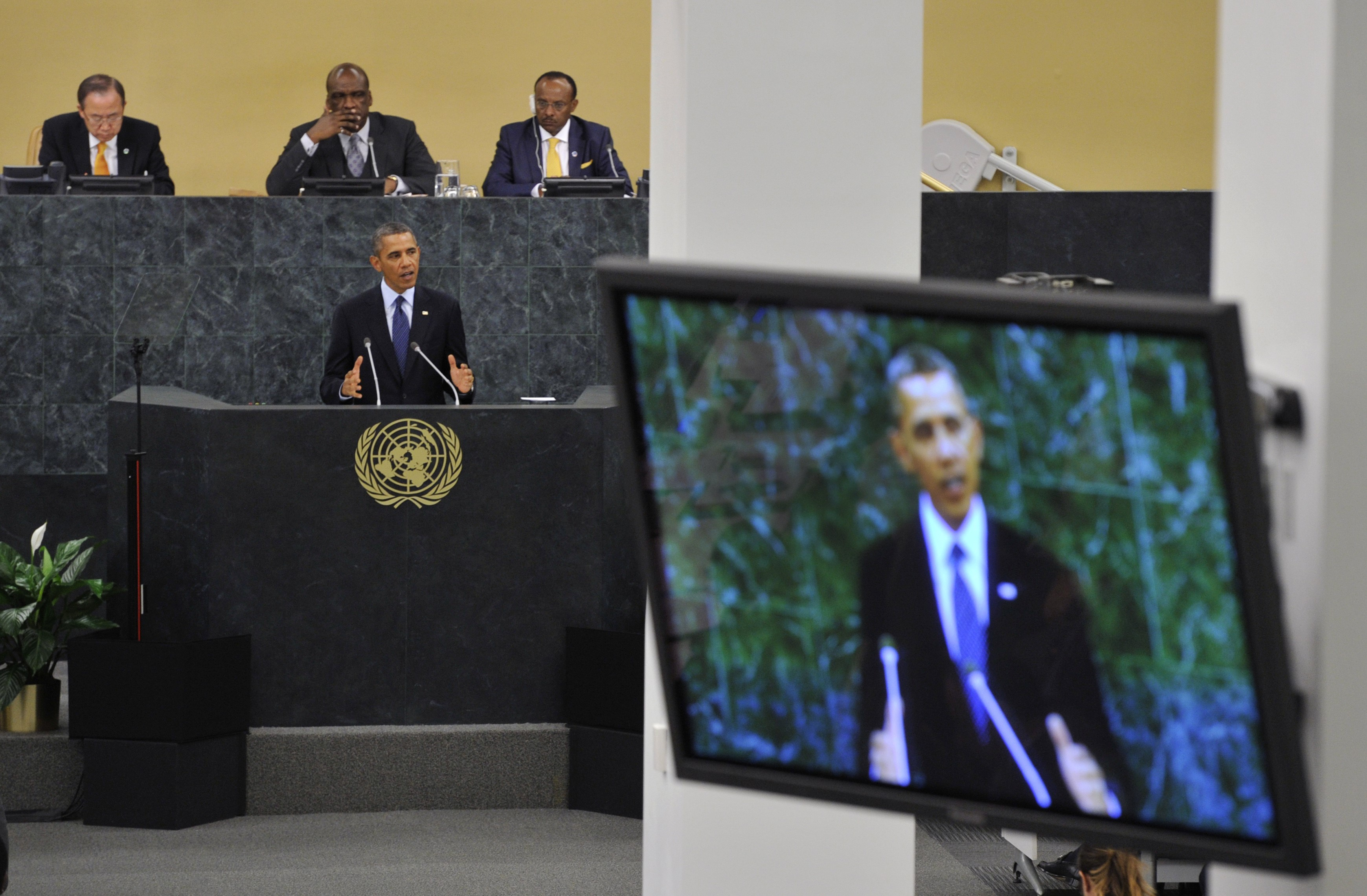 United States President Barack Obama addresses the delegates during the 68th session of the United Nations General Assembly at the United Nations in New York on September 24, 2013. (AFP PHOTO / TIMOTHY CLARY)