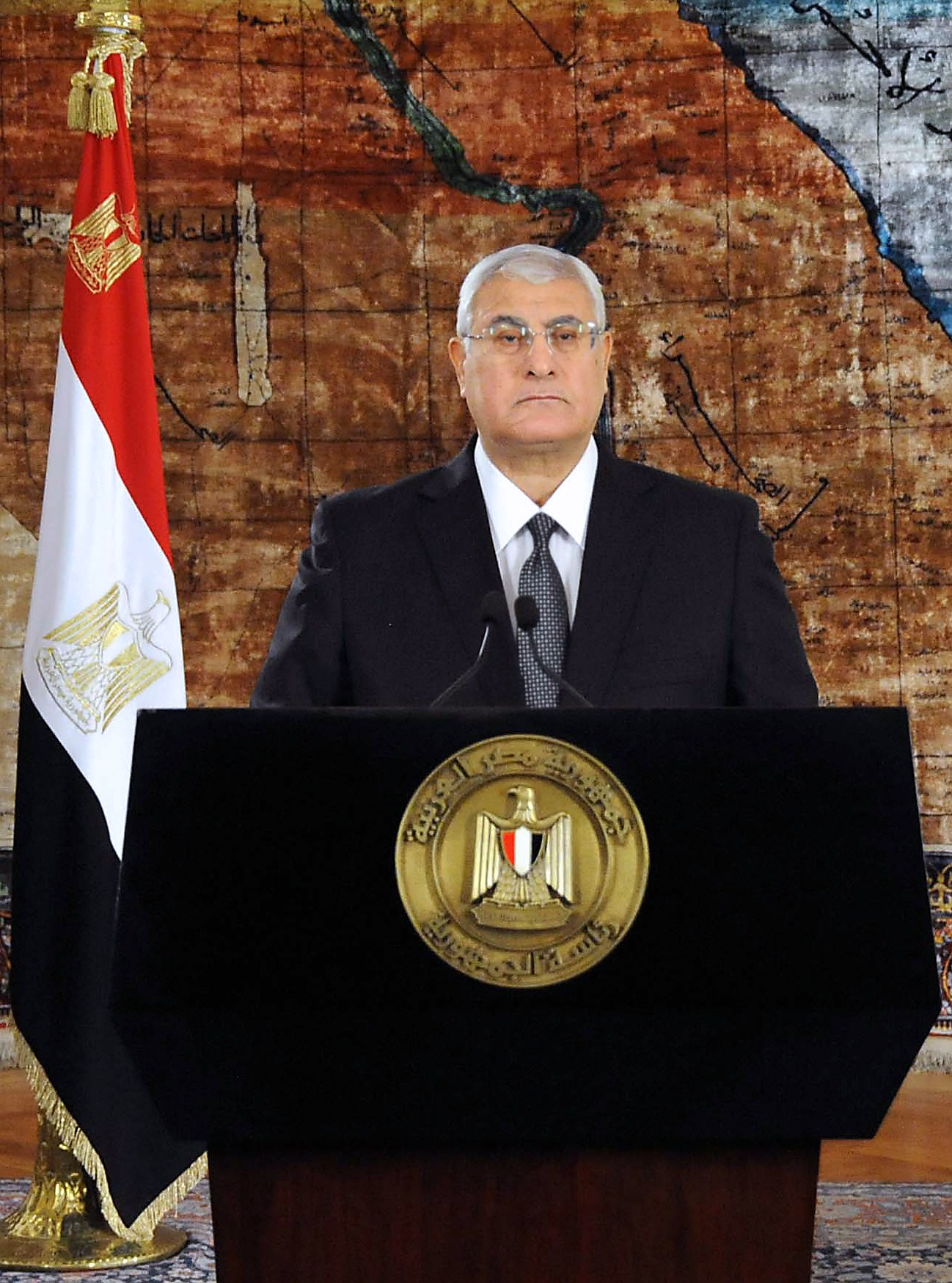 A handout picture released by the Egyptian Presidency shows Egypt's interim president Adly Mansour giving a speech after a ceremony at the memorial of the Unknown Soldier and tombs of late Egyptian presidents on October 5, 2013 in Cairo, as part of the celebrations marking the 40th anniversary of October War Victory. (AFP PHOTO EGYPTIAN PRESIDENCY)