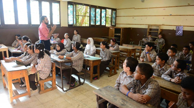 Students at a public school in Cairo.