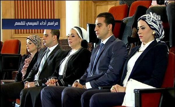 President Abdul Fattah Al Sisi's wife Intisar Amer (C) sitting with her family during her husband's inauguration Sunday (Screenshot from CBC Extra)