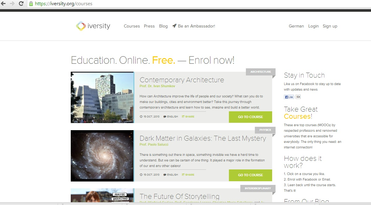 There are many courses available on iversity in a range of subjects (Photo from Iversity.org)