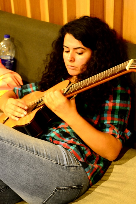 Dina El-Wedidi at work in the studio (Photo by Jennie King)