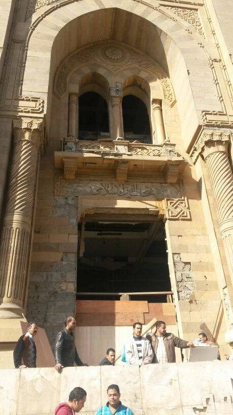 The façade of the museum was highly damaged and the ceiling also fell down (Photo from Egypt's Heritage Task Force/ The Egyptian National Library and Archives)