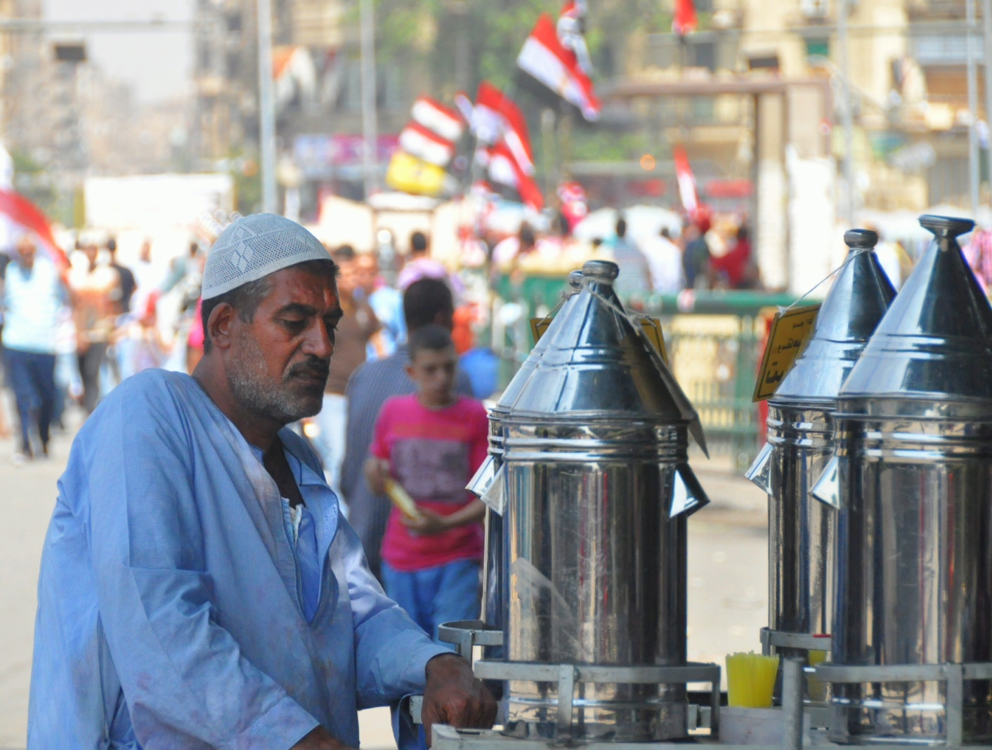 Traditional Egyptian drinks for sale in Tahrir Square, 1 July (Photo by Aaron T. Rose)