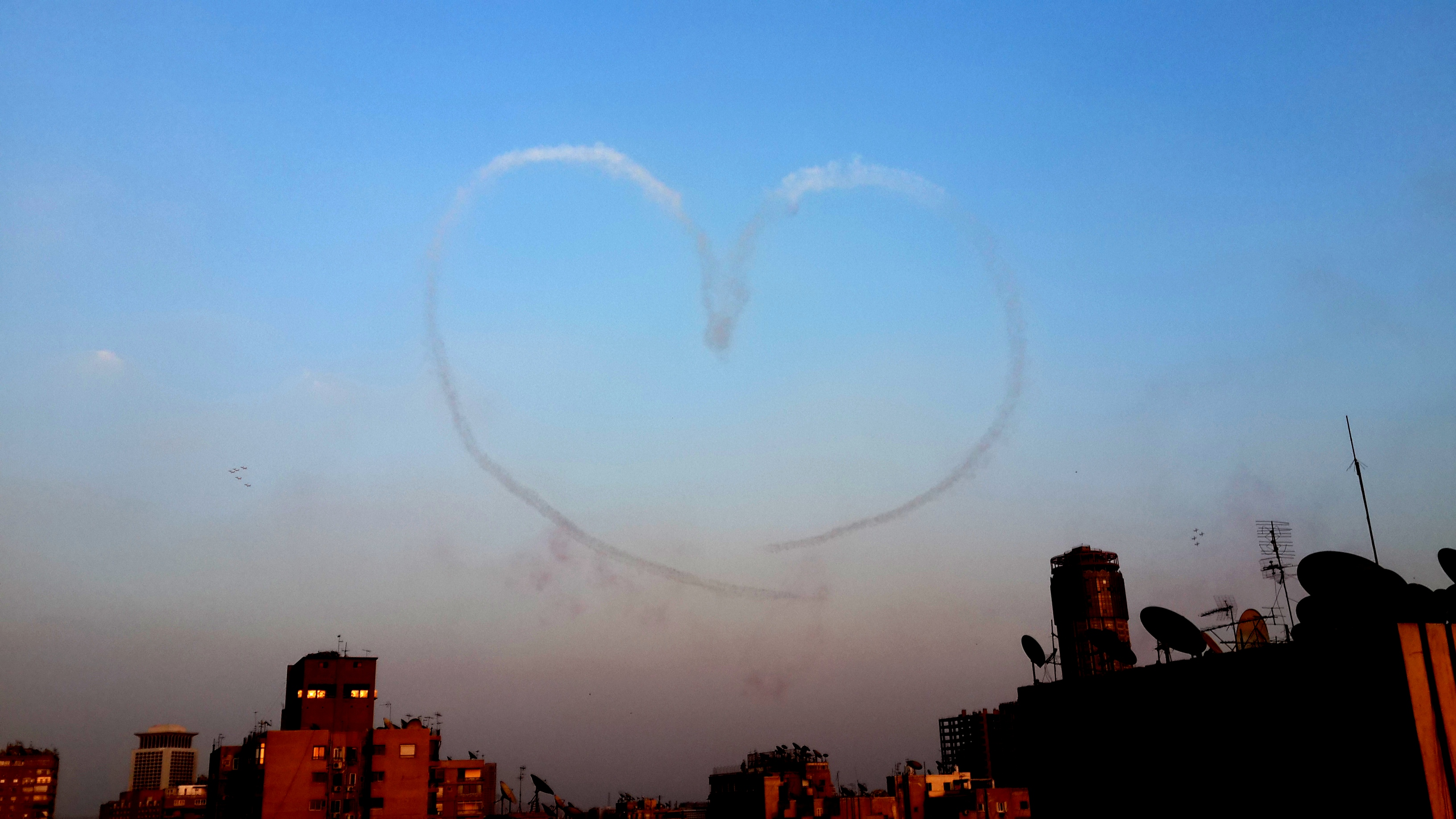 During the air show the planes drew playful messages to the watching public. (Photo by Sara Abou Bakr)
