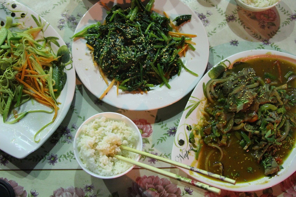 From left to right Cold Tofu Noodle Salad, Morning Glory Salad and Beef & Pepper dish. (Photo by Sharif Paget)