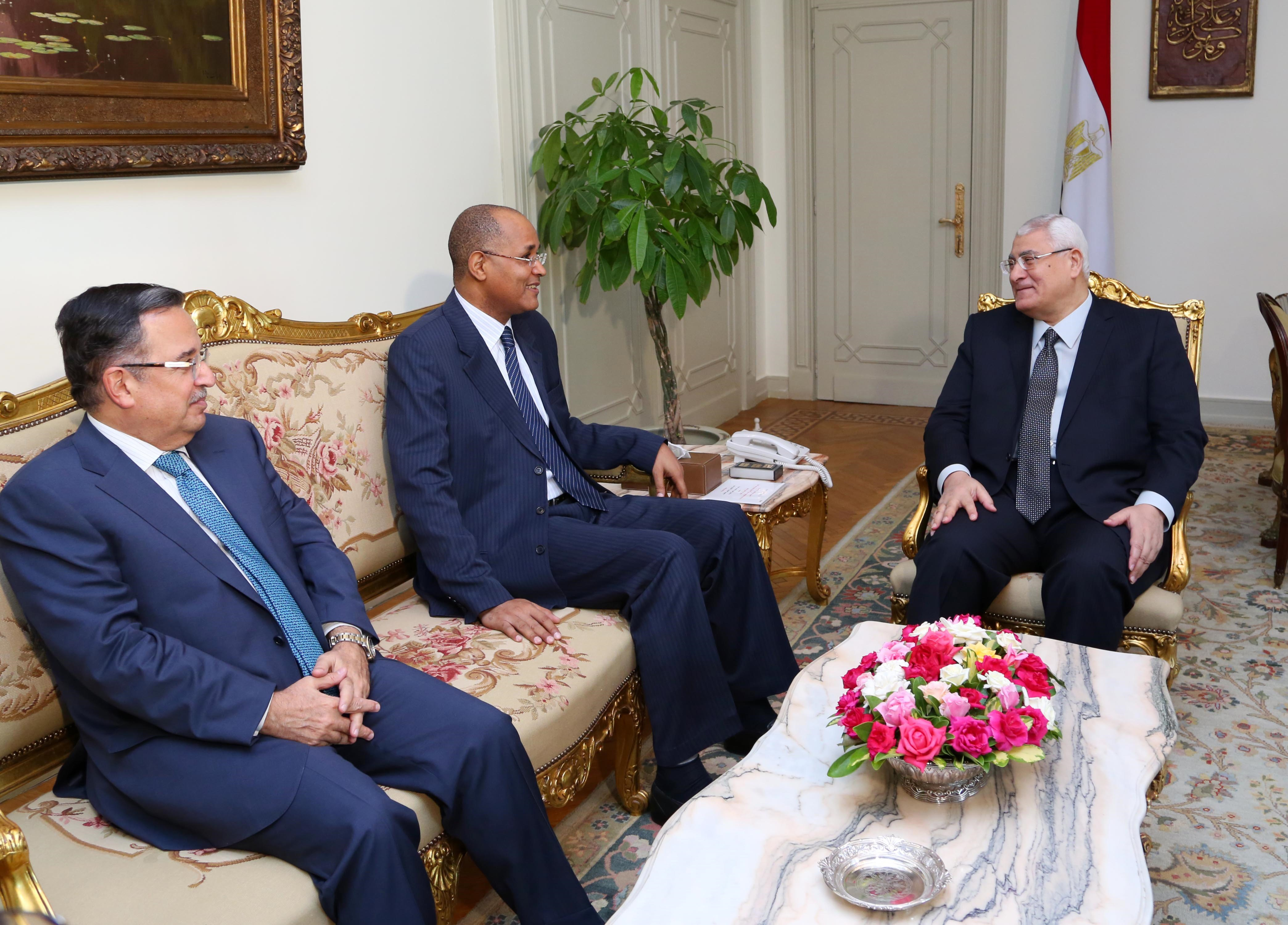 In this handout picture taken and released by the Egyptian Presidency,  Egypt's interim president Adly Mansour (R) and his Foreign minister Nabil Fahmy (L) meet with African Union election monitor Mauritanian, Mohamed Lamine Ould Akec (C) in Cairo on May 25, 2014.  Egyptians will vote on May 26 and May 27 in a presidential election and Army chief Abdel Fattah al-Sisi , who overthrew President Mohamed Morsi 11 months ago, is seen by many as the front runner.   (AFP PHOTO/ Egyptian Presidency)