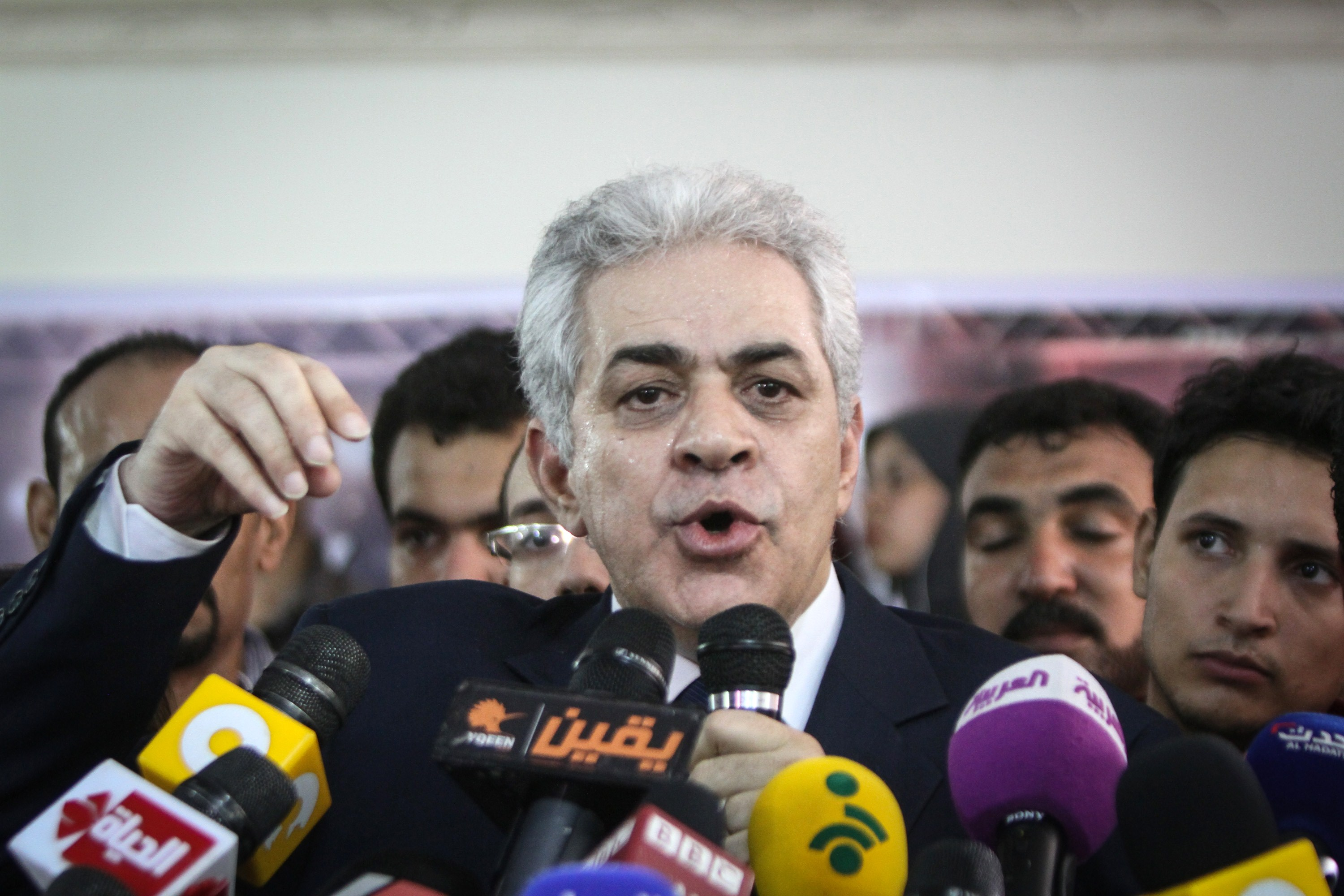 "Egyptian former leftist presidential candidate Hamdeen Sabbahi speaks during a press conference after preliminary results from Egypt's presidential election gave ex-army chief Abdel Fattah al-Sisi 96 percent of the vote on May 29, 2014 in the capital Cairo. Speaking at a news conference, Sabbahi said ""I accept my defeat and respect the people's choice"" in the three-day election that ended on May 29.     (AFP PHOTO / MOHAMED EL-SHAHED)"