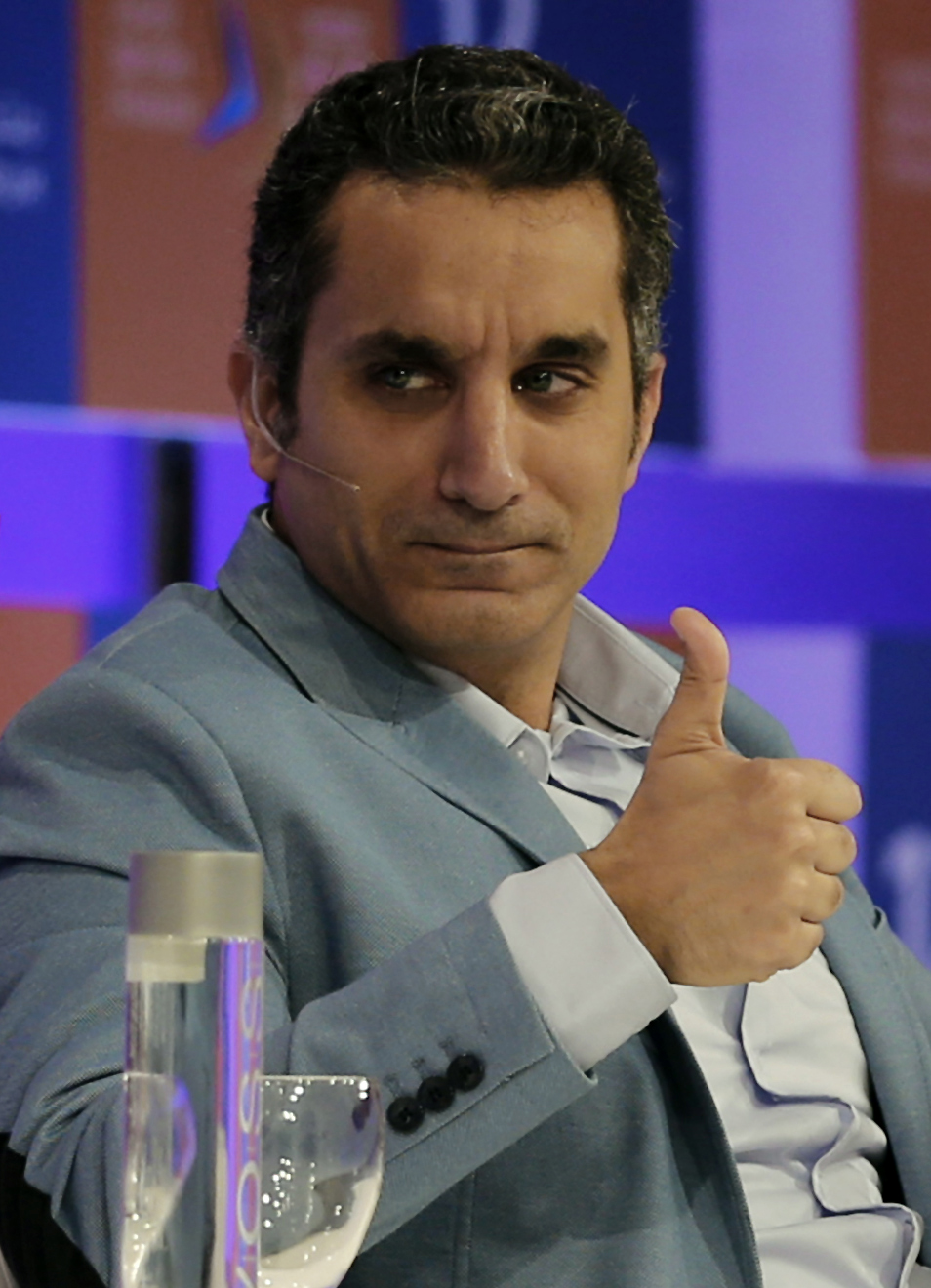 Egyptian satirist and television host Bassem Youssef  (AFP FILE PHOTO/KARIM SAHIB)