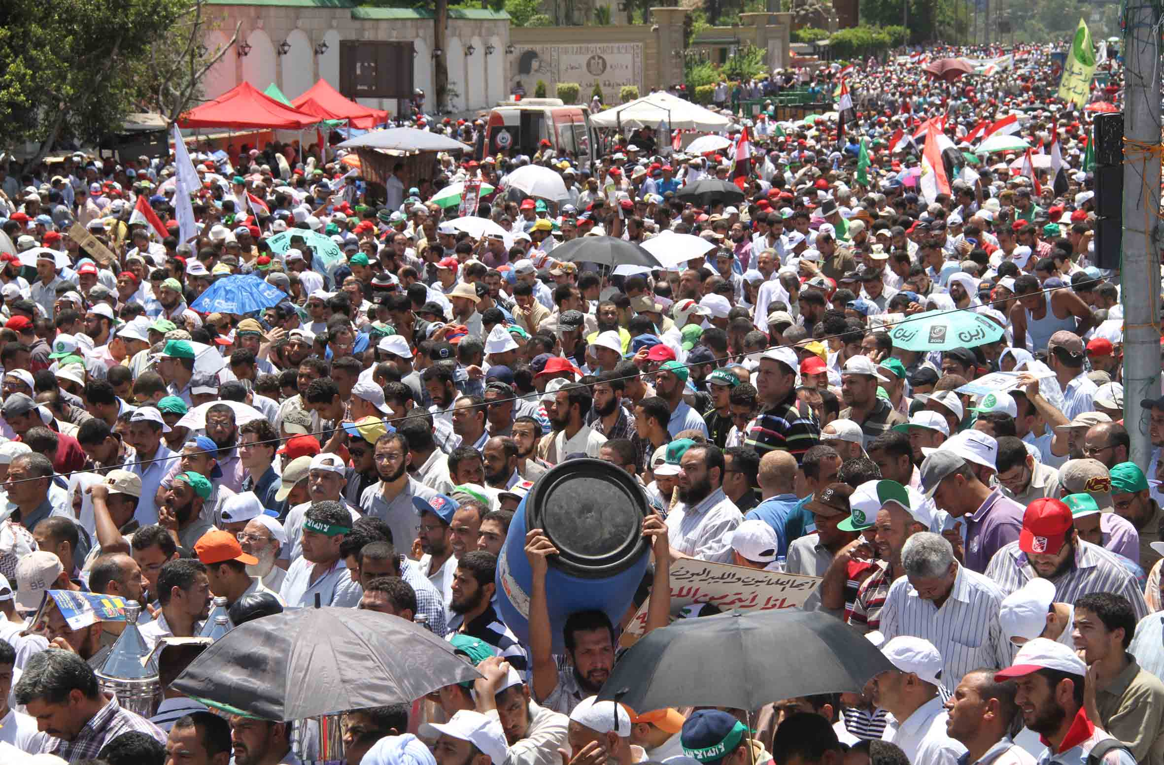 Tagarod (pro-Morsi campaign) participated in mass protests on Friday in front of Raba'a 'Adaweya mosque in Nasr City in support for President Morsi. (Photo by Mohamed Omar)