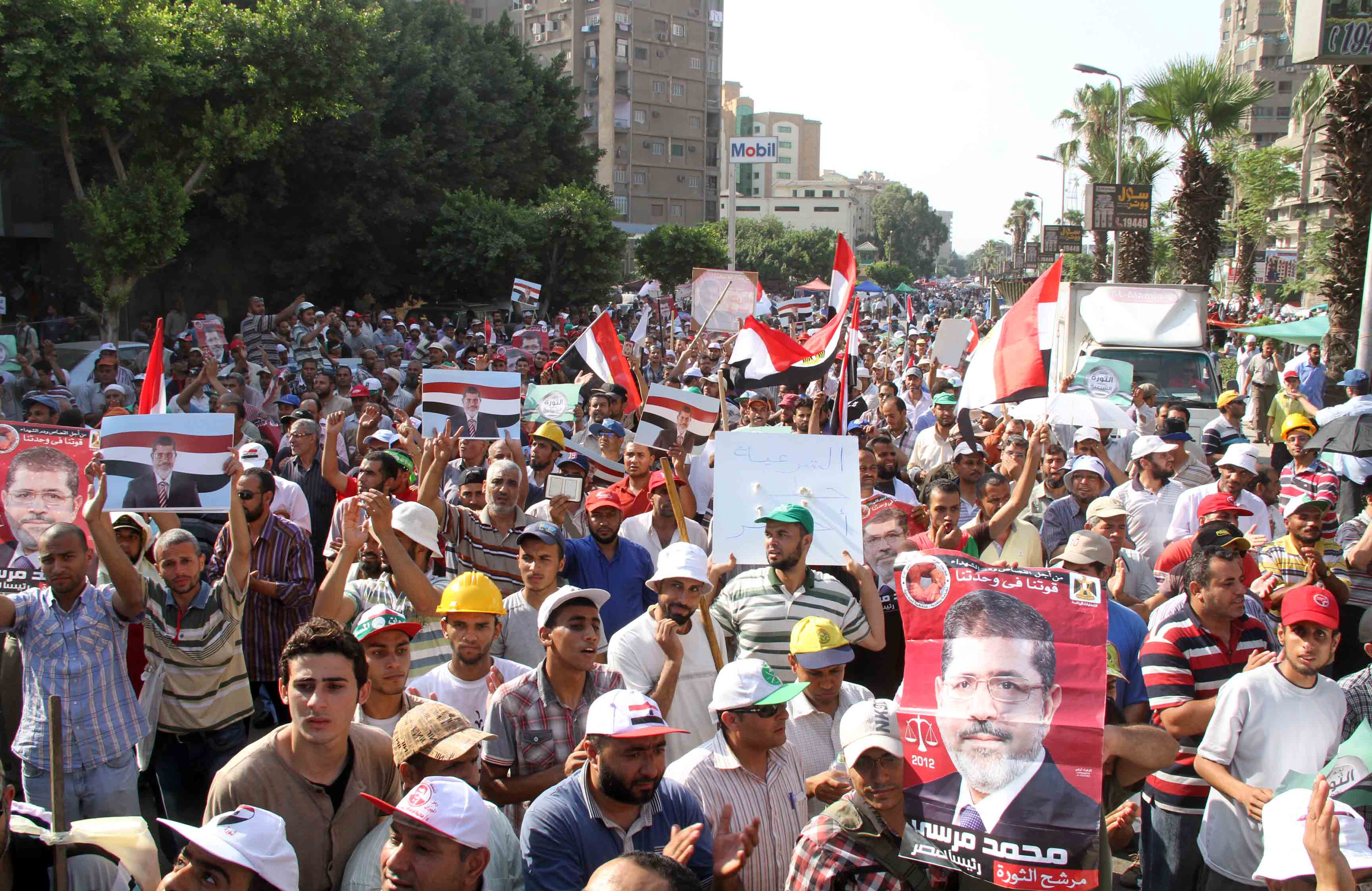 Pro-Morsi demonstrators are participating in sit-ins around the Rabaa Al-Adaweya Mosque in Nasr city. (Photo by Mohamed Omar)