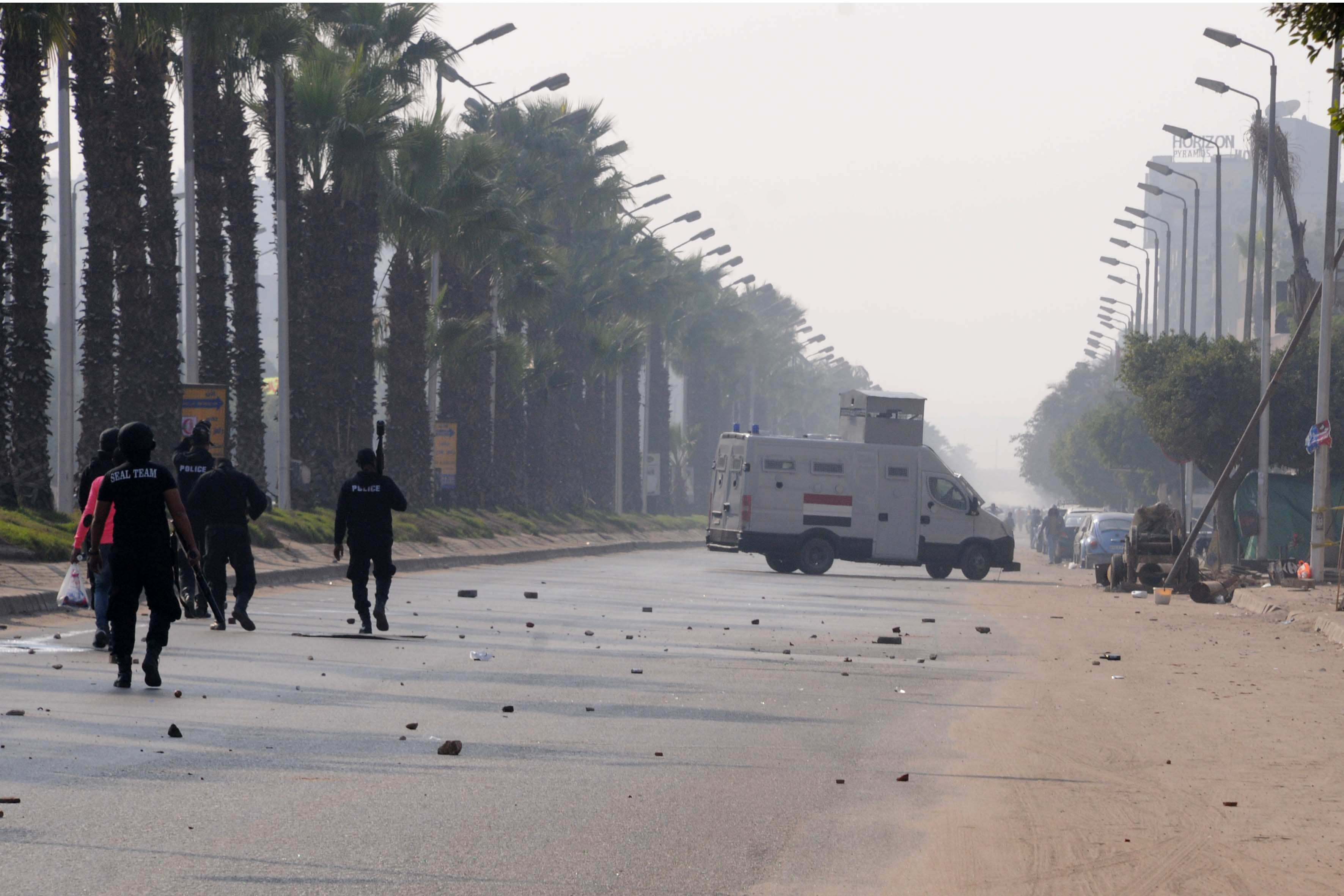 Pro-Morsi protesters and police clash in Al-Haram area on 3 January  Ahmed Al-Malky