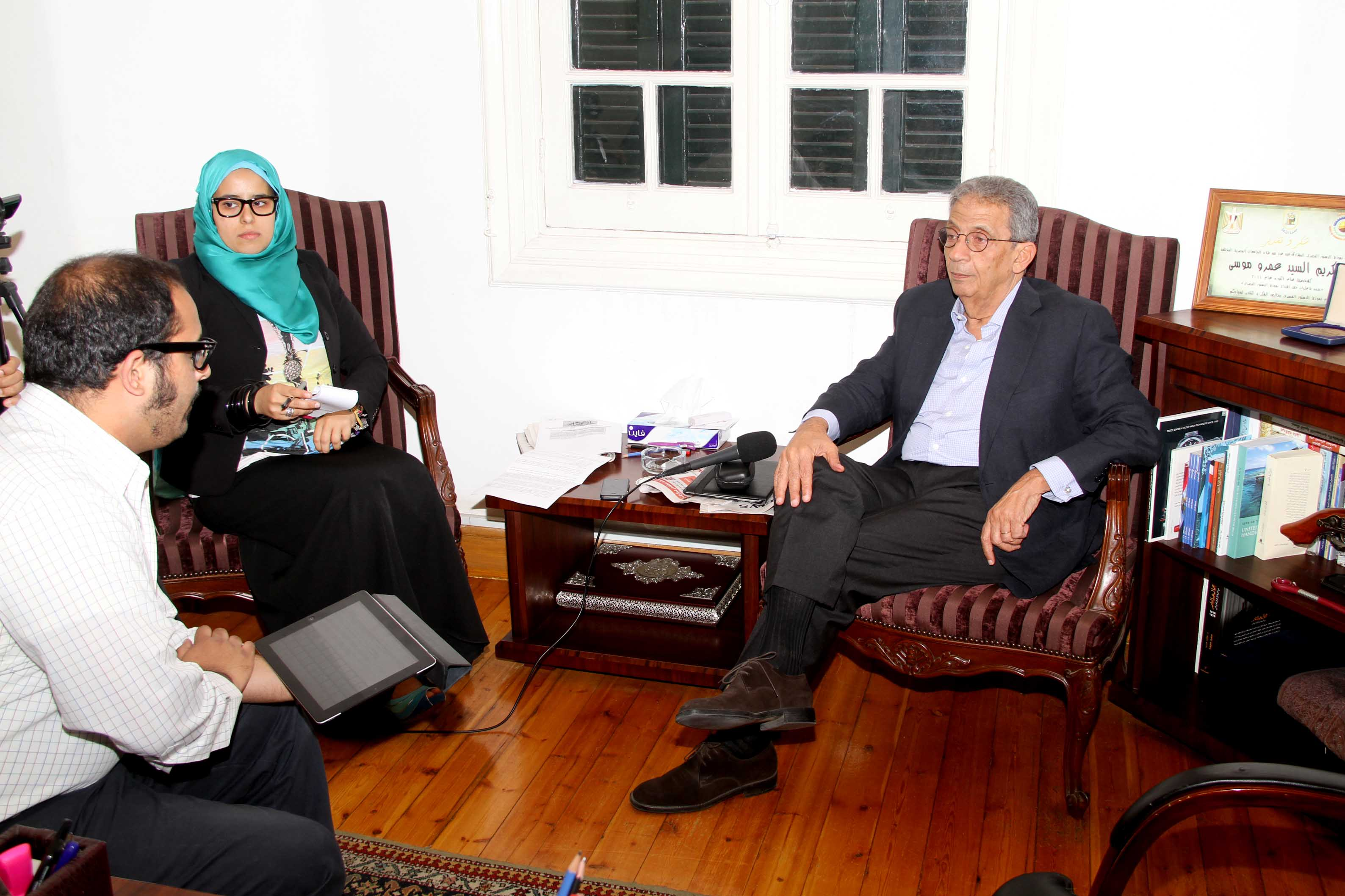 Daily News Egypt speaks to Conference Party head and National Salvation Front leader Amr Moussa   (Photo by Ahmed Al-Malky)
