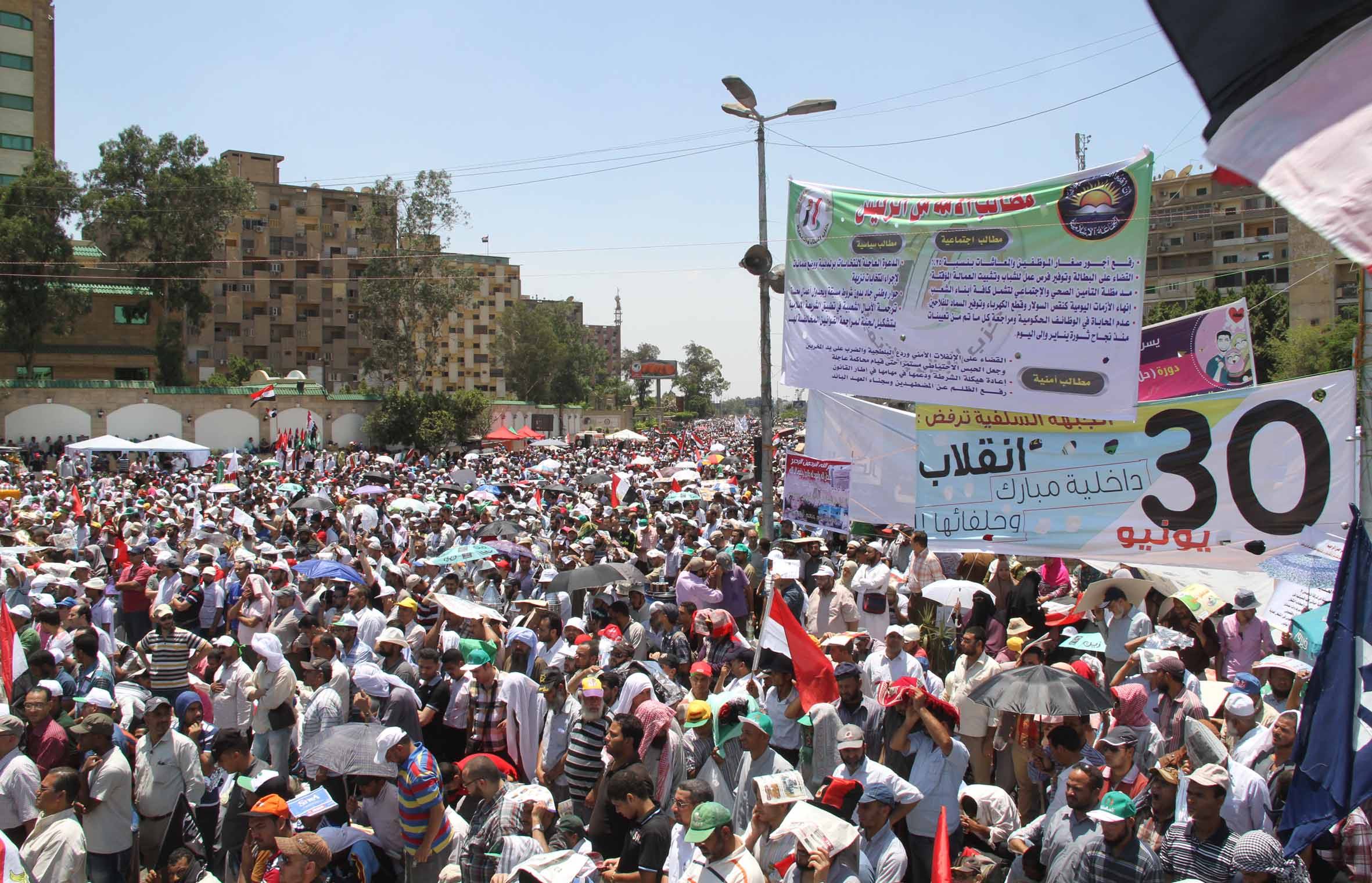 The National Coalition for Legitimacy said on Wednesday that it calls on all individuals and institutions to abide by the constitution and respect the democratic process that elected President Mohamed Morsi. (Photo by Ahmed Al-Malky)