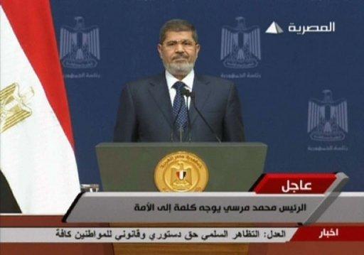 An image grab taken from Egyptian state TV shows Former President Mohamed Morsi ahead of his address, in Cairo on June 26, 2013 (Egyptian TV/AFP)