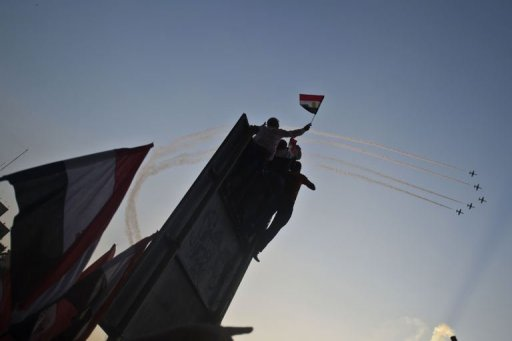Egyptian fighter jets fly over Tahrir Square, in Cairo, on July 7, 2013 (AFP/File, Khaled Desouki)