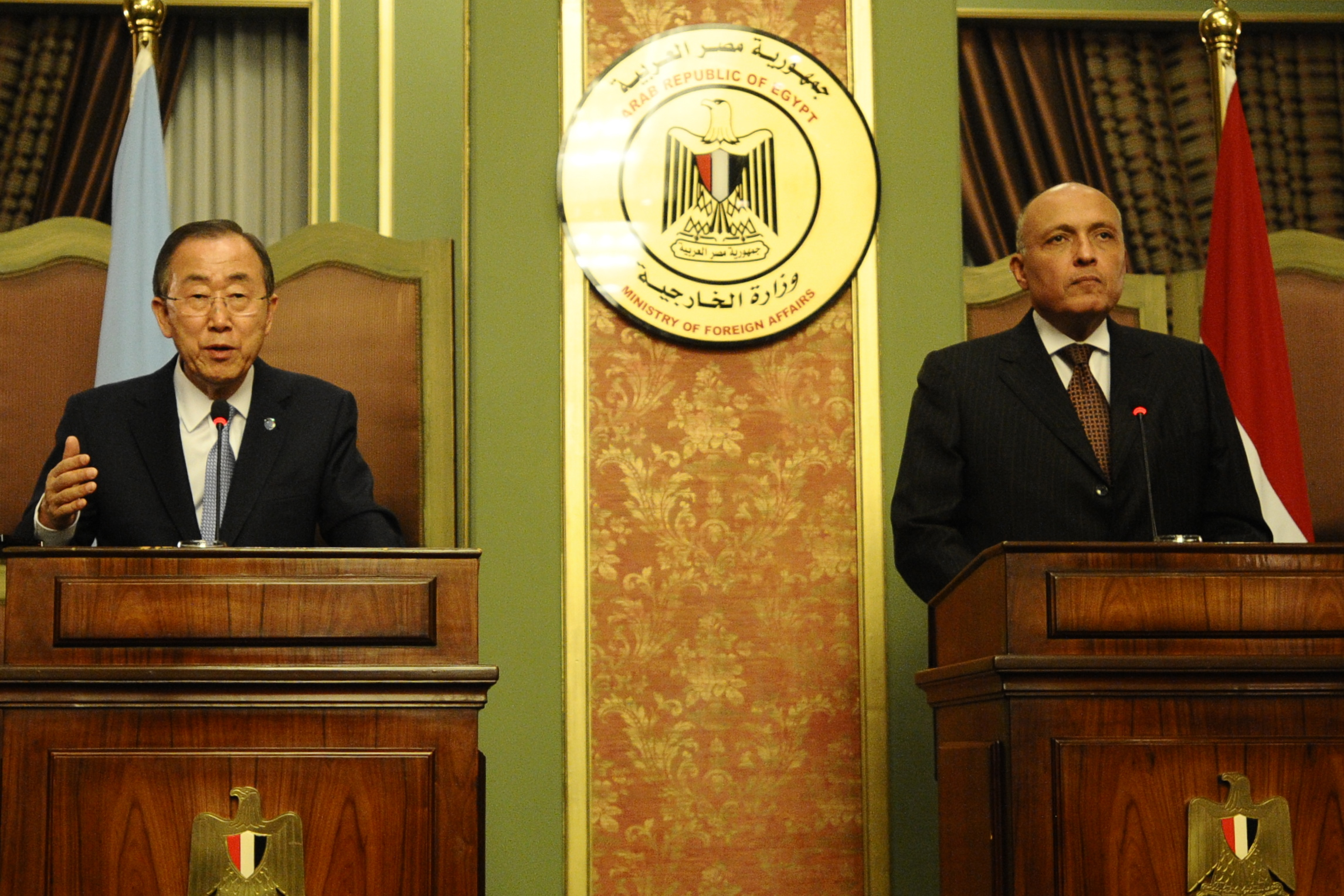 Egyptian Minister of Foreign Affairs Sameh Shoukry held a joint press conference with UN Secretary General Ban Ki Moon in Cairo on Monday. (Photo by Ali Omar)