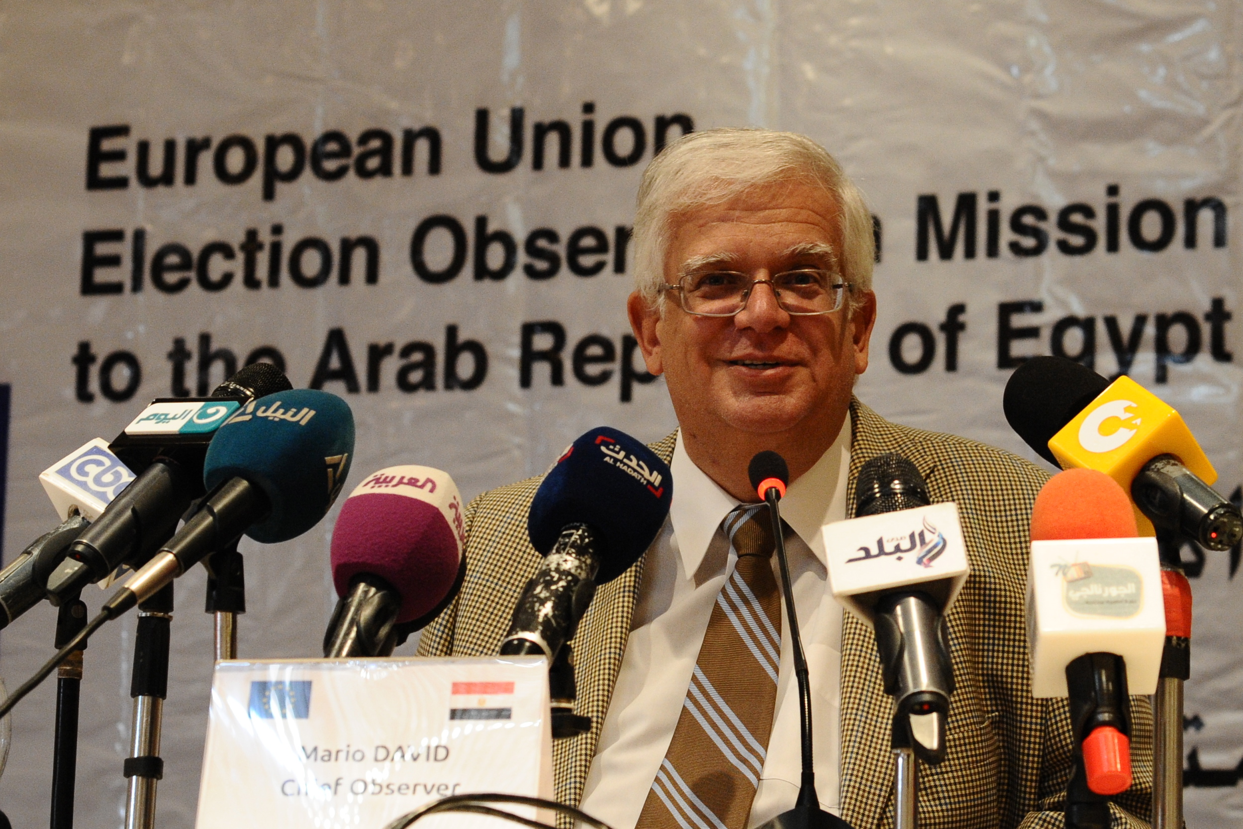 Chief Observer Mario David presenting the final report of the European Union Election Observation Mission at a press conference on Tuesday. (Photo by Ali Omar)
