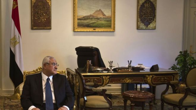 Former president Adly Mansour (AFP Photo)