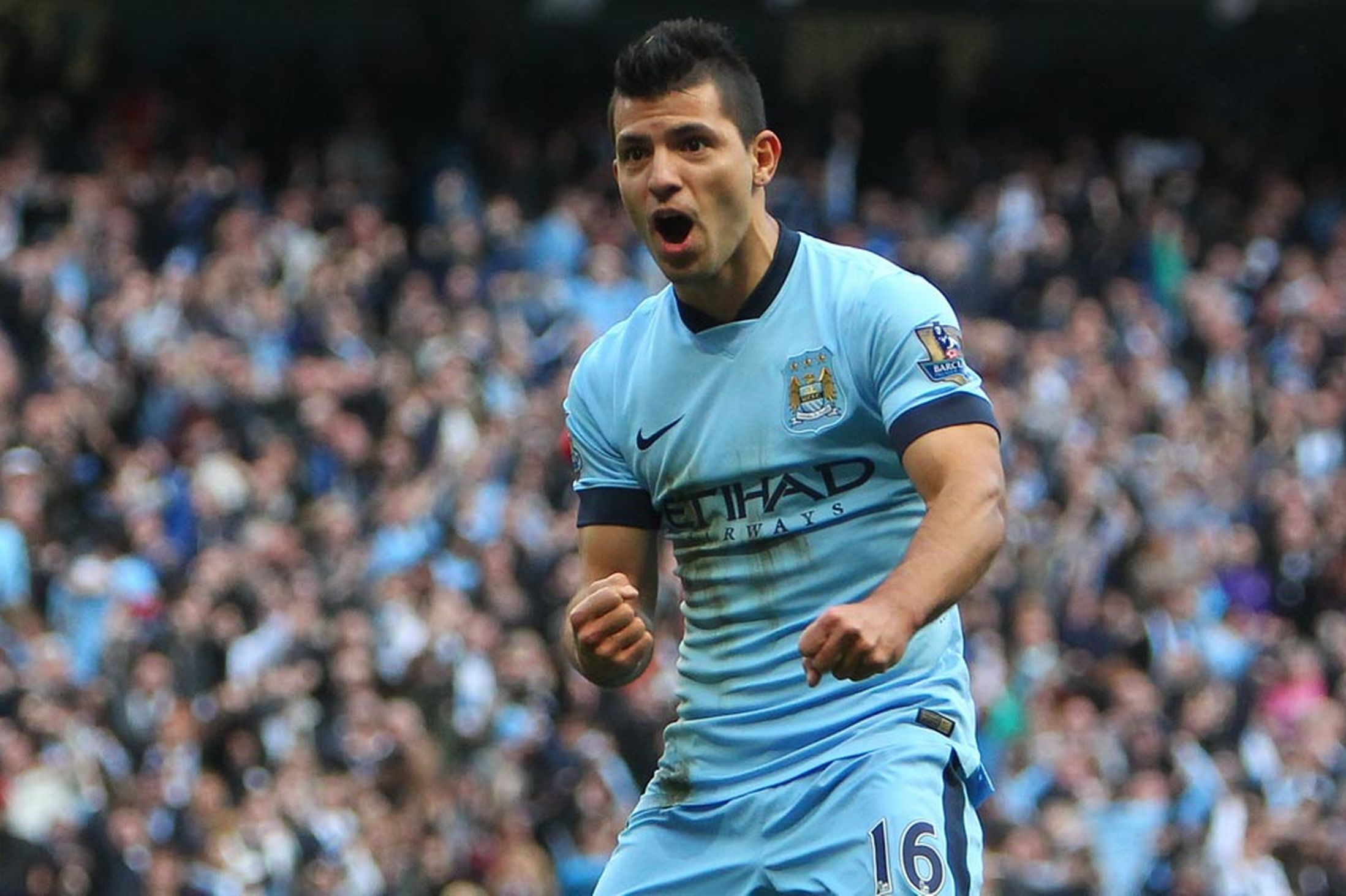 The top scorer for the championship is Argentine Sergio Aguero with 14 goals, 39% of the team's total goals