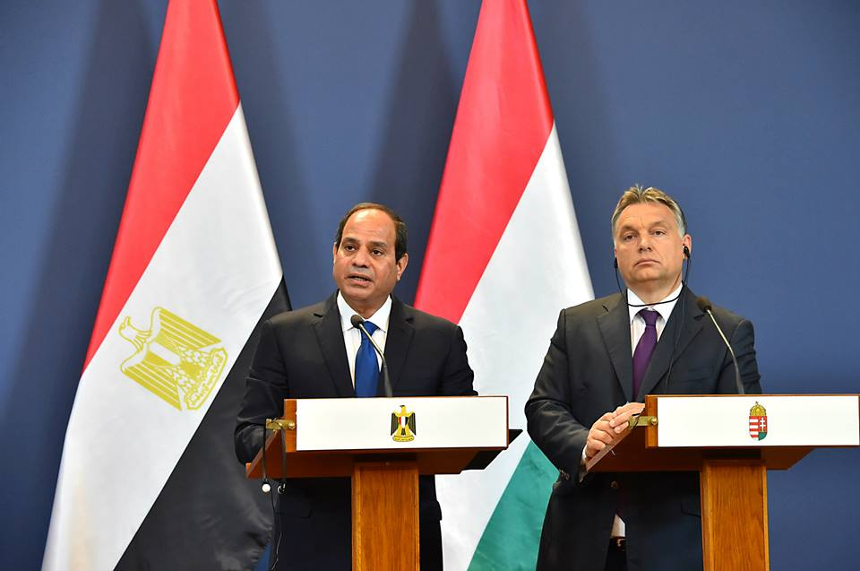 President Abdel Fattah Al-Sisi held a meeting with Hungarian Prime Minister Viktor Orbán Friday, during his visit to Hungary, where the pair discussed strengthening economic ties, especially in the infrastructure and railway sectors. (Photo Presidency Handout)