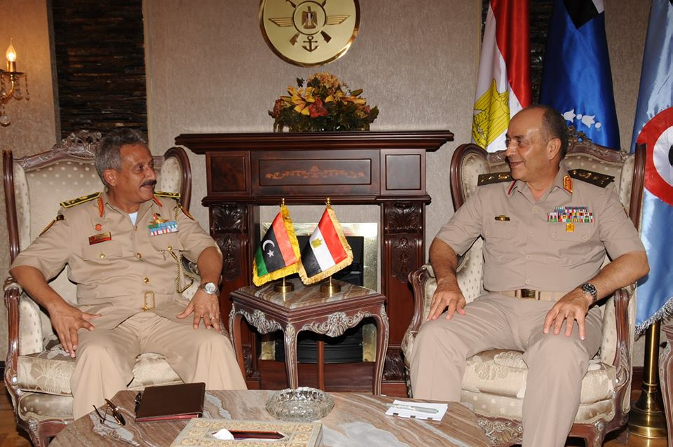 Armed forces' Chief of Staff Mahmoud Hegazy met on Monday his Libyan counterpart Abdessalam Jadallah Al-Salihin to discuss common efforts to secure Egypt's western border. (Photo from Army Spokesperson Facebook Page)