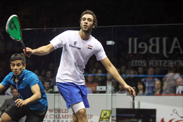 In the day's other quarter-final, Ramy Ashour faced unseeded Saurav Ghosal (Photo courtesy of Squashpics.com)