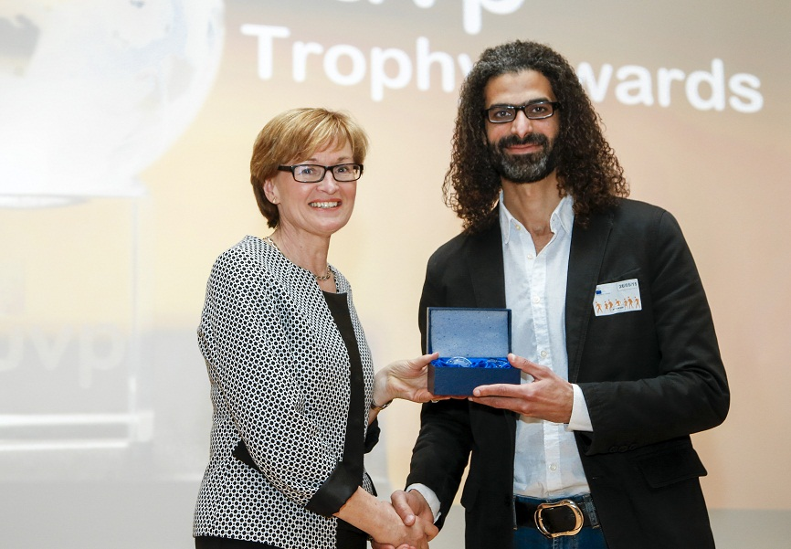 The former editor-in-chief of Daily News Egypt, Maher Hammoud, won an irregular honorary award during the 40th anniversary celebration of the European Union Visitors Programme last week. (Photo Handout from Maher Hamoud)