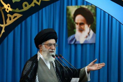 Ayatollah Ali Khamenei delivering the Eid al-Fitr prayer sermon at Tehran University on August 9, 2013 (Khamenei.ir/AFP)