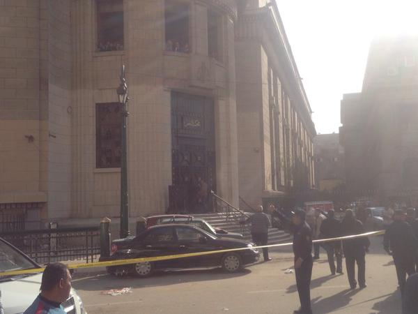 An explosive device went off Monday in front of the High Court in downtown Cairo leaving at least two dead and four injured (Photo by Emir Nader)
