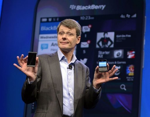 BlackBerry CEO and President Thorsten Heins unveils the BlackBerry 10 mobile platform in New York in January  2013. (AFP/File)