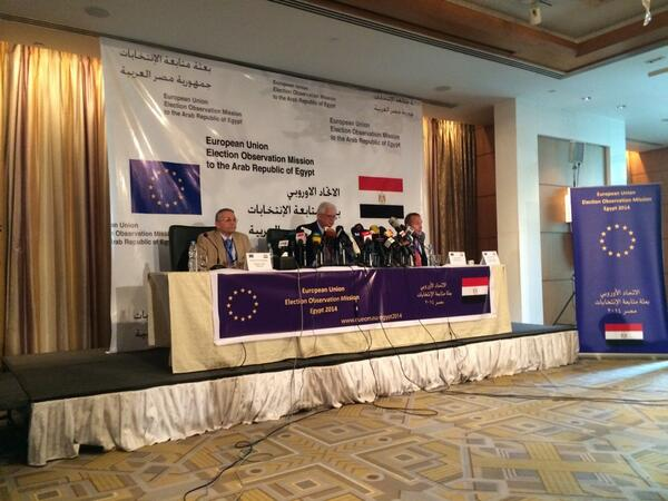 Eu Election observer mission head Mario David addresses the press in Cairo on Monday morning.