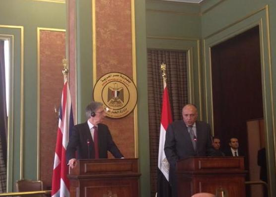 British foreign secretary Philip Hammond (L) met with his Egyptian counterpart Sameh Shoukry on Thursday