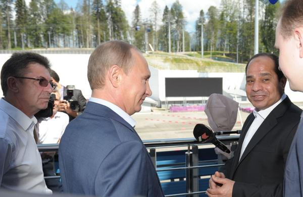 President Al-Sisi meets with his Russian counterpart Vladimir Putin on Tuesday in Sochi. (Handout from the Kremlin)