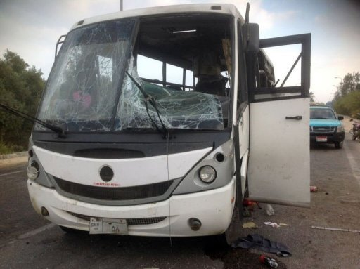 Militants killed three workers from a cement factory in an attack on the bus in which they were travelling in the north Sinai town of Al-Arish (AFP Photo)