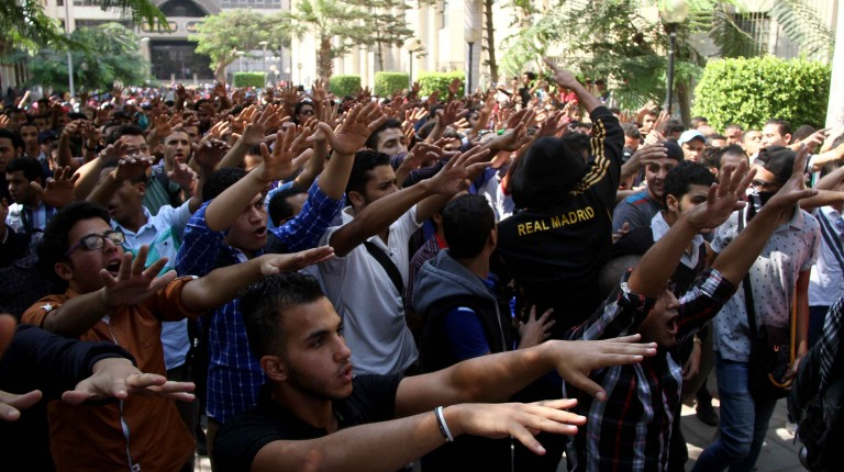 Cairo Univeristy Students protest on October,12 2014.