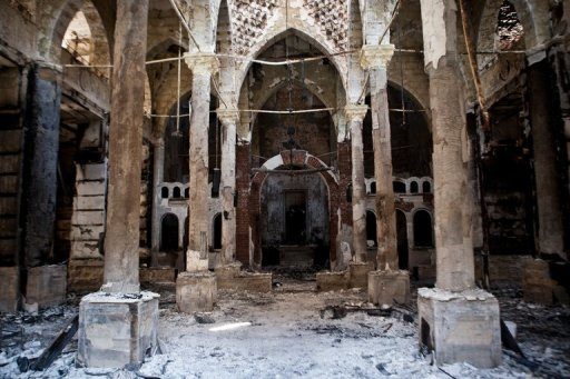 The Amir Tadros coptic Church in Minya, Egypt, which was set ablaze on August 14, 2013, in a photo taken on August 18  (AFP/File, Virginie Nguyen Hoang)