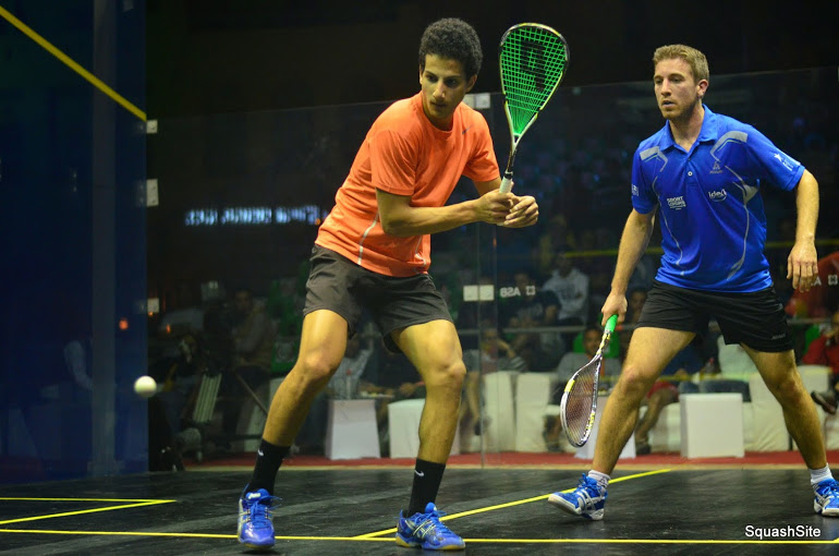 Egyptian qualifier Mazen Hesham Ga Sabry (L) pulled off a shock 3-1 win over French World No.22 Mathieu Castagnet. Courtesy of SquashSite/Steve Cubbins