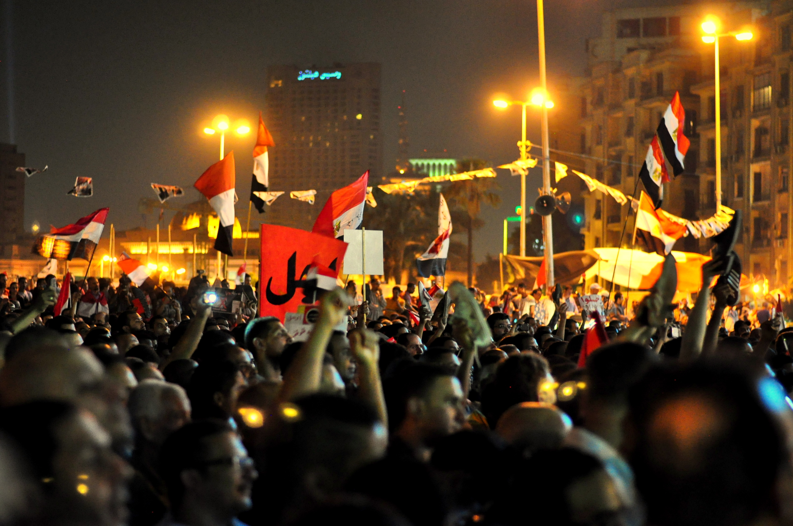 Angry protesters in Tahrir square react to President Morsi's speech Wednesday night.  By: Aaron T. Rose