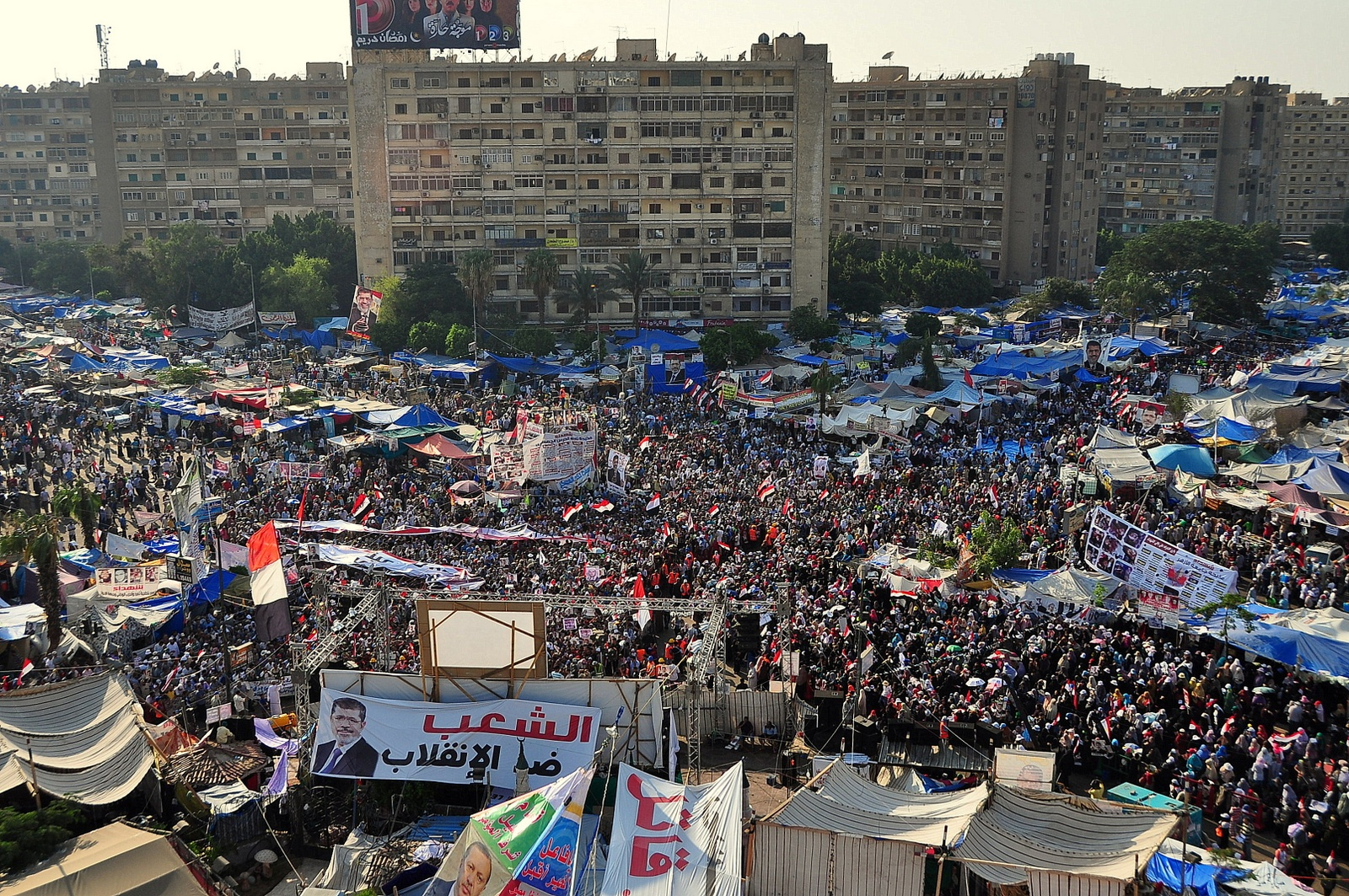 Pro-Morsi sit-in in front of Rabaa Al Adaweya mosque (Photo by Aaron T. Rose/DNE)