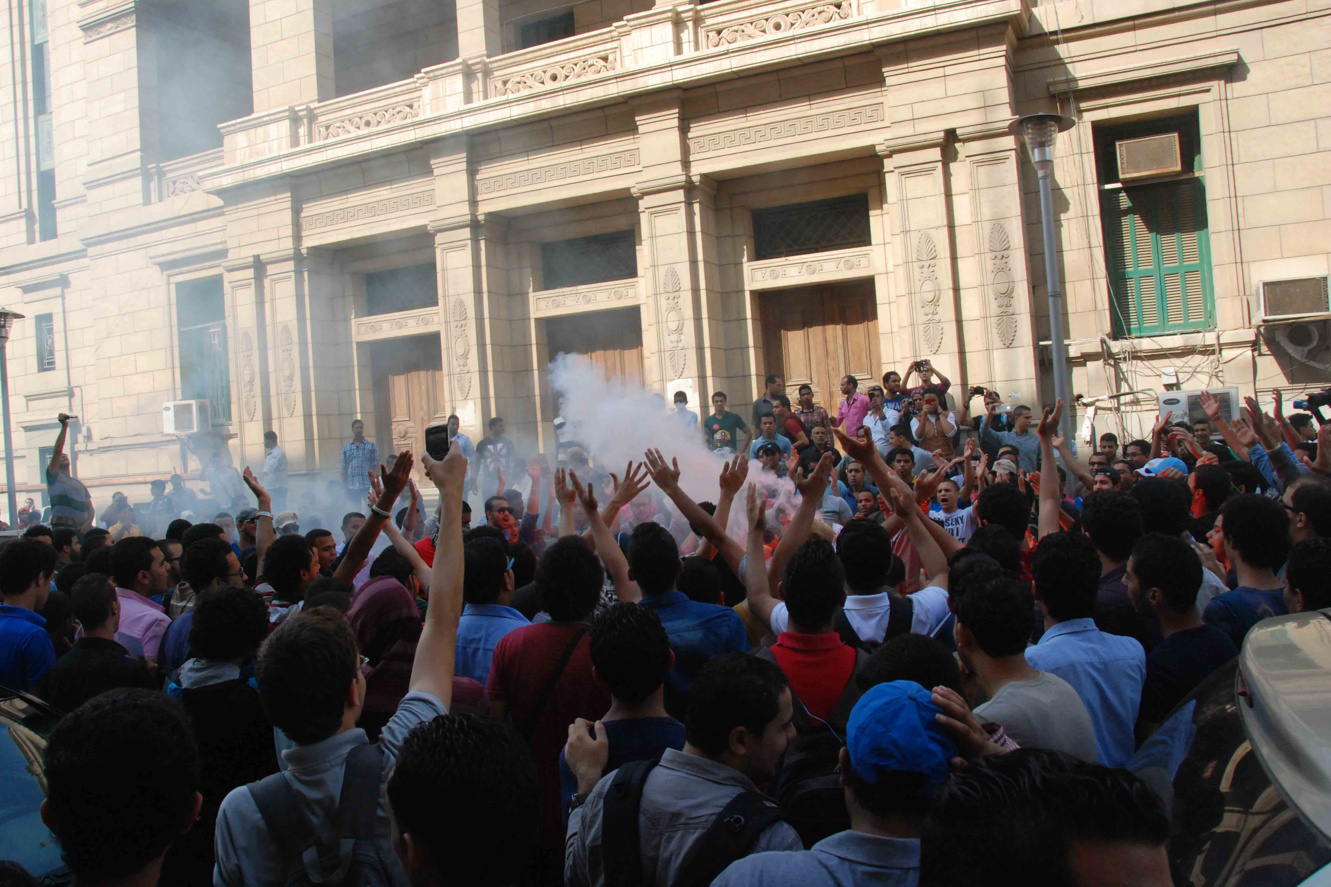 Students protest at Cairo University on Tuesday. (Photo by Ahmed Al-Malky)