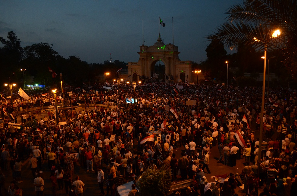 Demonstrations continued on Tuesday evening at both the presidential palace and Al-Qobba Palace as protesters persisted in their calls for the removal of President Mohamed Morsi. (Photo by Halim Elshaarani)