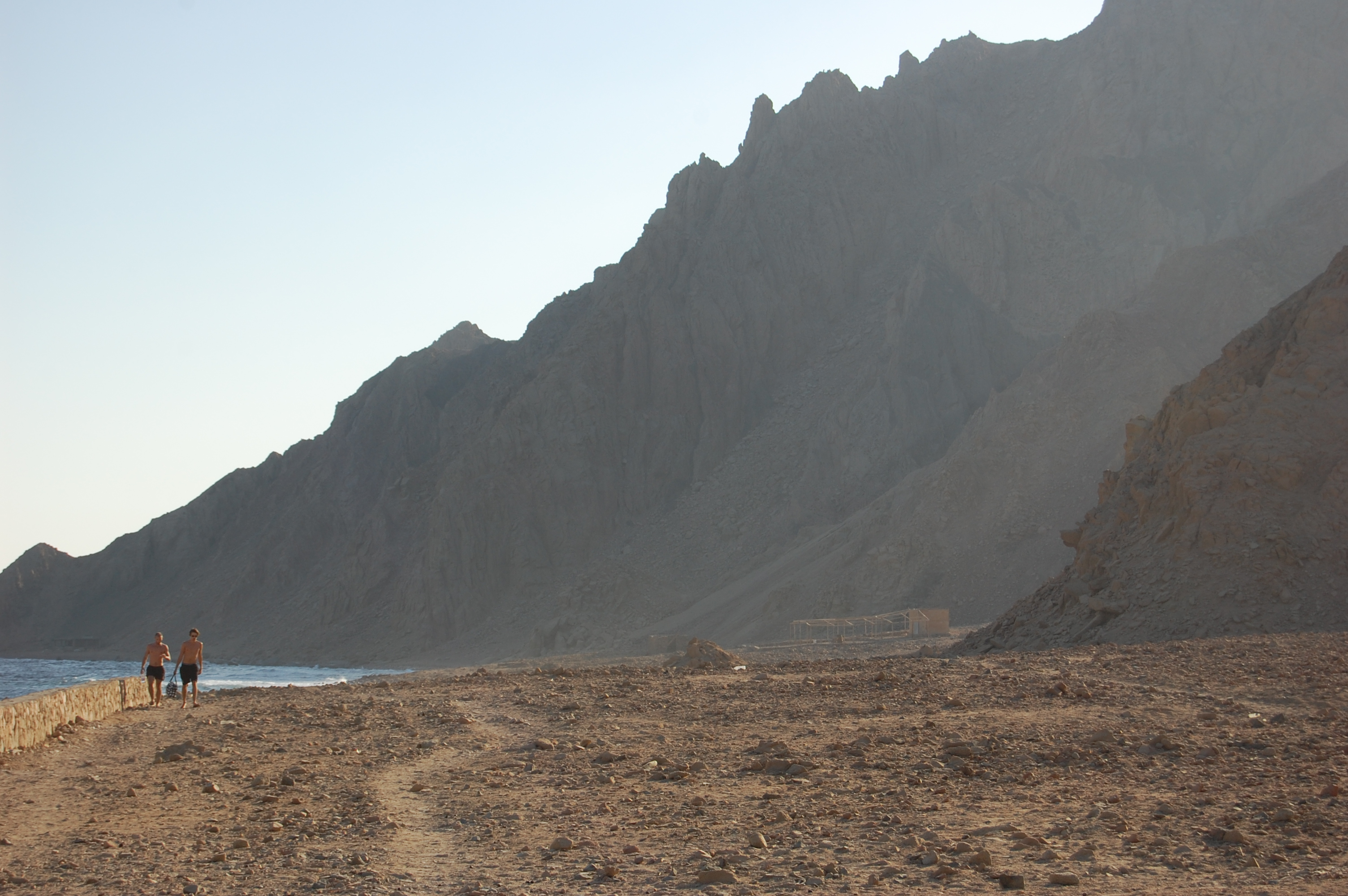 The mountains meet the sea on the walk towards Ras Abu Galloum (Photo by: Joel Gulhane)