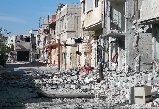 A street in the Shebaa district of Damascus, destroyed during the Syrian conflict, September 17, 2013 (AFP/File)