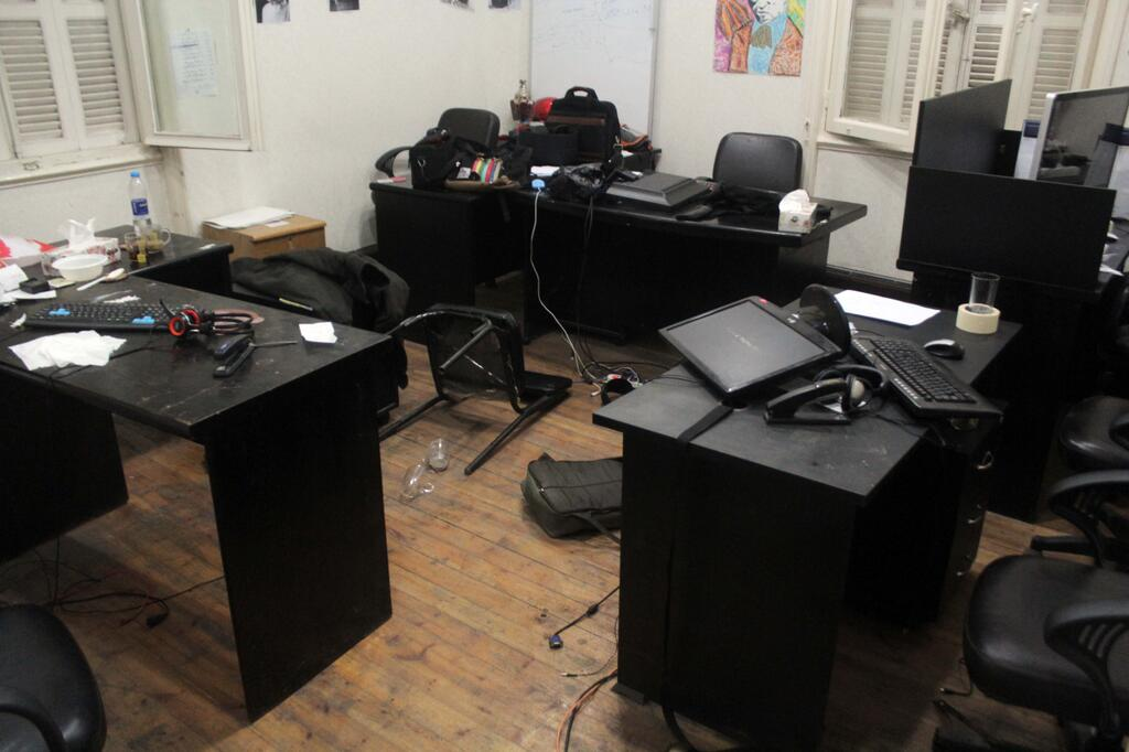 Photo released by ECESR showing their office after the raid