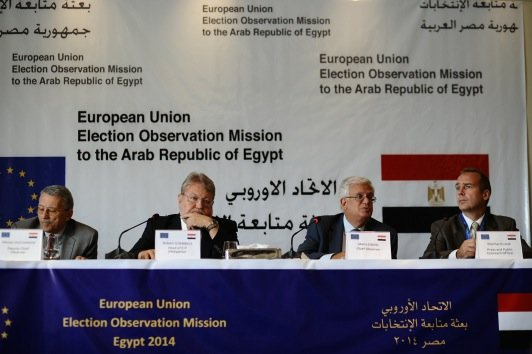 European Union Election Observation Mission Chief Mario David presented the findings of his mission on Thursday afternoon. (Ali Omar)