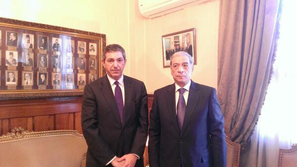 EU Special Representative for Human Rights Stavros Lambrinidis met  with Prosecutor General Hisham Barakat. (Photo from EUSR Twitter Account)